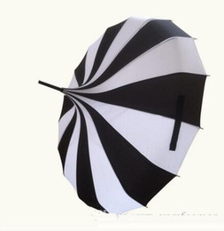 Free long tube online shopping - Creative Design Black And White Striped Golf Umbrella Long handled Straight Pagoda Umbrella