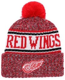 682bda020bc Top Selling DETROID beanie WINGS beanies Sideline Cold Weather Reverse  Sport Cuffed Knit Hat with Pom Winer Skull Caps 00