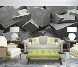 Discount 3d stereo sound - Personality Design Mural Wall Paper 3D Stereo Geometry Cement Fresco Office Gallery Cafe Dining Room Modern Art Decor Wa