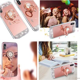 $enCountryForm.capitalKeyWord Australia - Luxury Diamond Crystal Rhinestone Glitter Soft TPU Mirror Case for Iphone5 6 Plus 8plus Cover with Ring Holder Stand