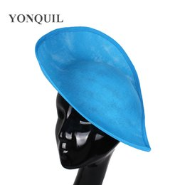 blue hair accessories for weddings UK - Sea blue or 16 colors 30cm imitation sinamay fascinator base hair accessories for bridal wedding party church DIY Accessories 5pcs lot SYB05