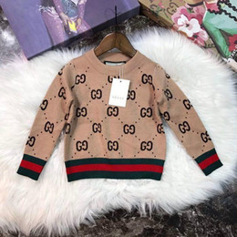 2d79 2018ins Autumn And Winter Sweater Pure Cotton Round Neck Sweater Children kids knitted clothes
