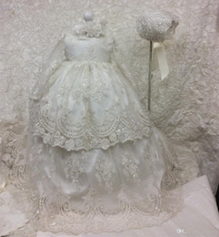 kids dresses for girls 16 NZ - Cheap Long Christening Dresses For Baby Girl With Long Sleeves Baptism Gown Sequined Tulle Lace Appliqued Kid First Communication Dress