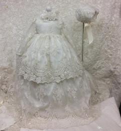 Günstige Lange Taufkleider für Baby Mädchen mit langen Ärmeln Taufe Kleid Pailletten Tüll Spitze Appliqued Kid erste Kommunikation Kleid