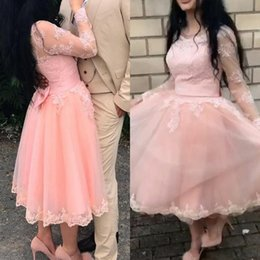 Black Sheer Bows NZ - Arabic Tea Length Prom Dresses Sheer Jewel Neck Illusion Long Sleeves Lace Appliques Blush Pink Tulle Evening Party Gowns with Bow Sash