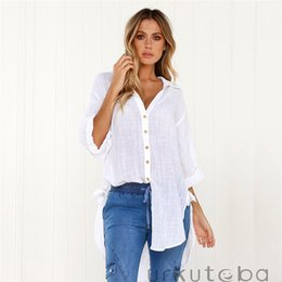 245f03e8 Trendy Women Blouse Casual Autumn Long Sleeve pullover Button Shirts turn-down  collar Ladies Polyester Solid White Blue Blouse