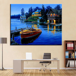 diy oil paint number kits Canada - DIY Lakeside Villa Small Boat Oil Painting By Numbers Kits HandPaint Abstract Building Canvas Pictures Wall Art Home Decor Frame