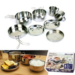 $enCountryForm.capitalKeyWord NZ - Hot!8 PCS Set Outdoor Tableware Backpacking Cooking Picnic Camping Hiking Traveling Cookware Pot Pan Plates Cup Cooking Set Kitchen Tools