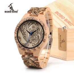 Chinese  wristwatch wood BOBOBIRD Tatto Print Wooden Watches Mens All Maple Wood Quartz Wristwatch in Wooden Box manufacturers
