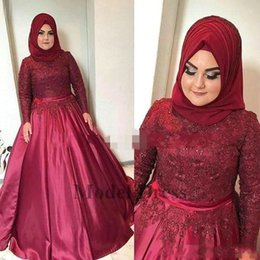 High Pictures NZ - 2018 Muslim Dark Red Arabic Evening Dresses with Long Sleeves High Neck Beaded Lace Applique Ball Gown Vintage Formal Party Wear Gowns