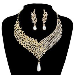Jade Dresses Australia - Gold Metal Plated necklace earrings Bridal Wedding jewelry sets Women Party crystal pearl fashion dress earrings set accessories