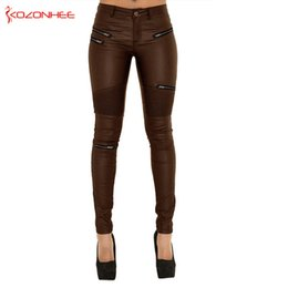 90450a2bfc2b Women PU Leather Pants Stretch Brown Pants Female Elasticity Women s Tights  Pencil PU Leather Plus Size