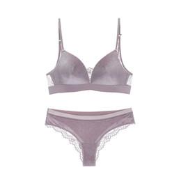 f09d26453 Solid Bralette Velvet Lace Bra Briefs Sets Push Up Lingerie Women Underwear  Wire Free Soft Cotton Thin Cup Sexy Bra   Panty Set