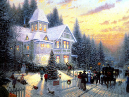 giclee watercolor print Australia - Thomas Kinkade Landscape Oil Painting Reproduction High Quality Giclee Print on Canvas Modern Wall Home Art Decoration for living room TMS54