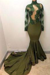 $enCountryForm.capitalKeyWord Canada - Olive Green Mermaid Prom Dresses 2018 African High Neck Long Sleeves Beads Lace Appliqued Satin Sweep Train Women Party Gowns BA7958
