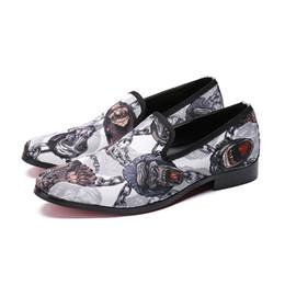 Leather tuxedo online shopping - white print pattern men dress leather shoes poined toe slip on Tuxedo shoes for men party fashion oxford