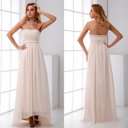 Chinese  2018 Ivory Pin New Chiffon Long Bridesmaid Dresses Beaded Sequins Evening Empire Waist A Line Strapless Wedding Guest Gowns ZPT196 manufacturers