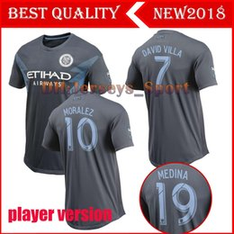Wholesale player version NYCFC FC New York City away soccer jerseys MEDINA LAMPARD DAVID VILLA MORALEZ home football shirts top quality