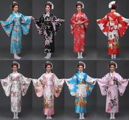 Discount japanese geishas - 17 styles Vintage Japanese geisha Kimono Yukata Haori Costume Retro women Dress Obi Cosplay Gown free shipping