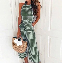 17ccf59cc83 Fashion Striped Women Clothing Summer Rompers Jumpsuit Zipper Lace-up  Sleeveless Office Ladies Long Playsuit Casual Loose Overalls