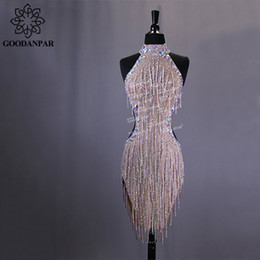 GOODANPAR New Style Sexy Lycra Latin Dance Dress Women Sleeveless Competition Salsa Rumba Samba Flapper Dress With Bodysuit Bra on Sale