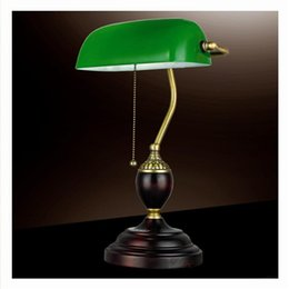 $enCountryForm.capitalKeyWord NZ - Retro Literary Table Light Emerald Green Glass Bank Office Desk Lamps Red Wood Vintage Reading Night Lighting Student Redwooden Book Lamps