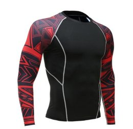 t shirt compression mma UK - Mens Fitness Long Sleeves Rashguard T Shirt Men Bodybuilding Skin Tight Thermal Compression Shirts MMA Crossfit Workout Top Gear