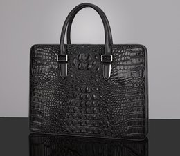 "Macbook Leather NZ - Top quality Men Briefcases Imported genuine Crocodile leather Men buisness Crossbody Laptop Case For Ipad MacBook 13""computer shoulder bag"