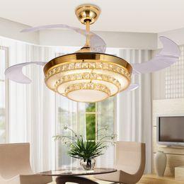 Toptan satış Modern gizli dilsiz fan lambası Kristal tavan fanı Telecontrol fan lambası restoranda 42 inç Görünmez Bıçakları Tavan Hayranları