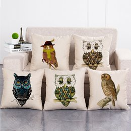 Discount owl handmade pillow - 6 Designs Owls Cushion Covers Home Decorative Pillows Cases Cotton Linen 45x45cm Seat Back Bedding Pillowcase
