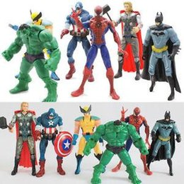 batman figure wholesale Australia - US 6X Marvel The Avengers Hulk Captain Wolverine Batman Spiderman Figure Collection