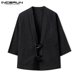 Wholesale Japan Kimono Men s Coats Jackets Autumn Black Cardigan Chinese Open Stitch Button Down Long Sleeve INCERUN Clothing Windbreaker