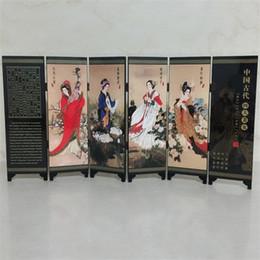 Großhandel Oriental Chinese Golden Lacquer Falten Zimmer Bildschirm Teiler Vier Große Schönheiten Frauen Geburtstag Geschenke Bildschirme Raumteiler 24 9jl gg