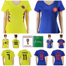 05646f62dd6 Women Colombia Jersey 2018 World Cup Soccer 11 CUADRADO 7 BACCCA 8 AGUILAR  Football Shirt Kits Lady 10 JAMES 9 FALCAO National Team Yellow