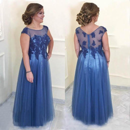 Vintage mother pearl online shopping - 2018 Blue Pus Size Mother Of Bride Dresses Sheer Neck Tulle Lace Applique Beaded Backless Sweep Train Prom Party Evening Wedding Guest Gowns