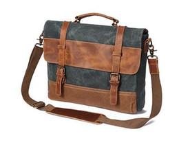 China mens shoulder bag retro vintage style leather canvas 3 colour option canvas briefcase hand bag crossbody bag suppliers