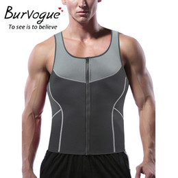 fitness waist shaper Canada - wholesale Mens Sweat Neoprene Body Shaper Zipper Vest Tank Top Slimming Fitness Weight Loss Shapewear Waist Trainer Plus XS-3XL