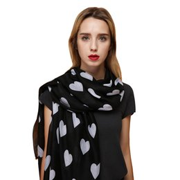 Scarfs Cotton Australia - Cotton Scarf Women Bandana Echarpe Femme Long Scarves Stoles Thin Satin Love Heart Print Shawls Pashmina For Ladies Wraps