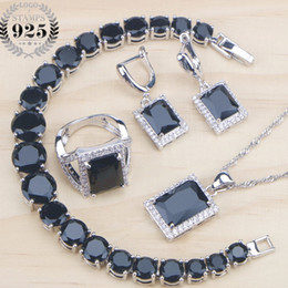 costume jewelry sets NZ - Cubic Zirconia Bridal Costume Jewelry Sets Women Silver 925 Jewelry Black Earrings Ring Bracelet Pendant Necklace Set Gifts Box