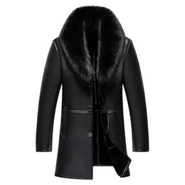 real leather men 2019 - 2017 New Arrival Long Real Big Fur Collar Men's Winter Leather Jacket High Quality Thick Warm Leather Men Coat