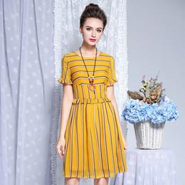 c429fb0cde5 Factory direct sale large size women s dress 2018 summer new mid-long  striped chiffon dress