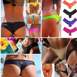 bikinis de fondo descarado al por mayor-Sexy Mujeres Brasileña Cheeky T Back Cut Out Tanga Bikini Bottom G String hole traje de baño traje de baño