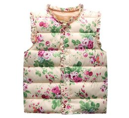 Cálido floral dulce capas de las chaquetas de algodón clásico de otoño invierno de los niños gitls chaleco del chaleco de abrigo para niños Chalecos en venta
