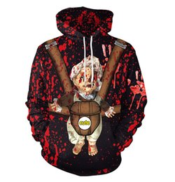 Chinese  Men Women Holloween Horror Bloodstains Doll Print Hooded Pullover Sweatshirt Lovers Party Evening Costume Hoodie Male Sweaters Top manufacturers