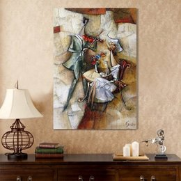 Figure Paintings Australia - Modern Wall Handmade Oil Painting Art Picture Dinner Restaurant Room Music Abstract figure Decorative Canvas Painting No Frame