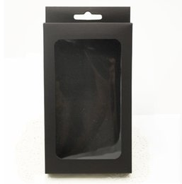 Chinese  3 sizes Black kraft paper box with pvc window for mobile phone case,retail phone case packaging box, universal phone box manufacturers