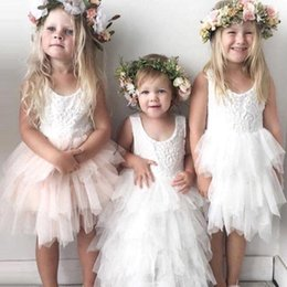 Discount toddler flower girl tutu dresses cheap - 2018 Cheap Lovely Short Flower Girls Dresses Lace Ruffles Tulle Tutu Dress Puffy Little Girls Formal Wedding Party Gowns