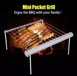 Bbq Grill Stove Australia - Camping BBQ Grill Portable Stainless Steel Barbecue picnic Outdoor cooking Park Compact Mini Pocket Grill Burner Solder Blower Welding