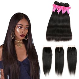 Discount weave deals - Brazilian Long Straight Virgin Hair 3 Bundles with Lace Closure Brazilian Human Hair Weaves with Closure Natural Color W