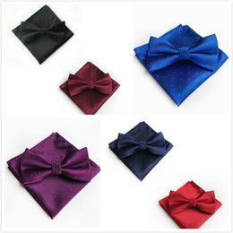 UniqUe ties online shopping - 2018 Unique Pure Wave Polyester Jacquard Tie Pocket Towel Set Simple Men s Dinner Dress Bow Tie Pocket Towel